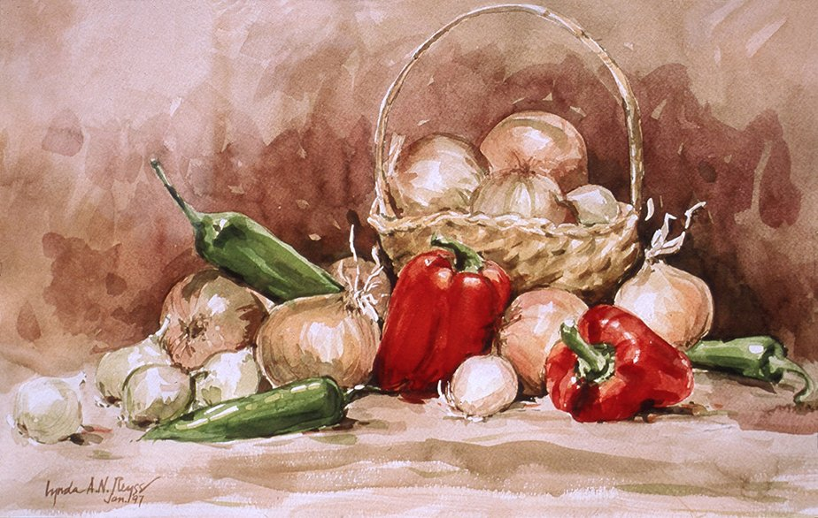 still life of onions and red peppers