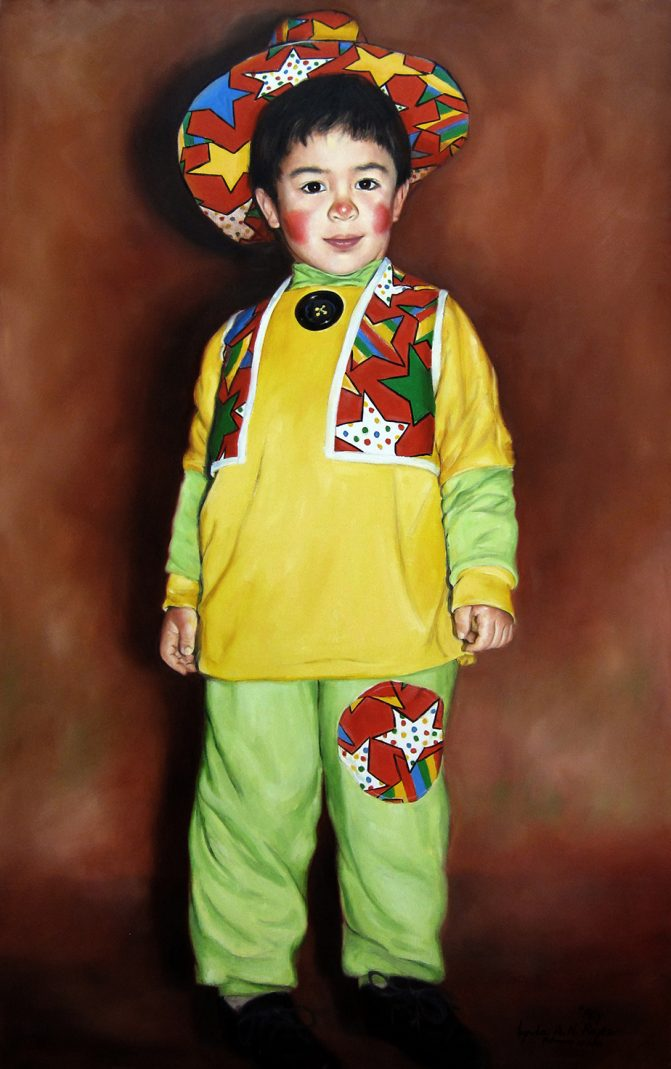 painting of young boy in a clown costume