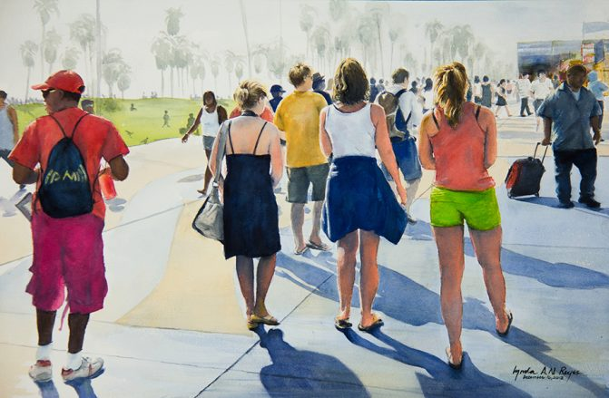 watercolor painting of multiple people walking down a sidewalk