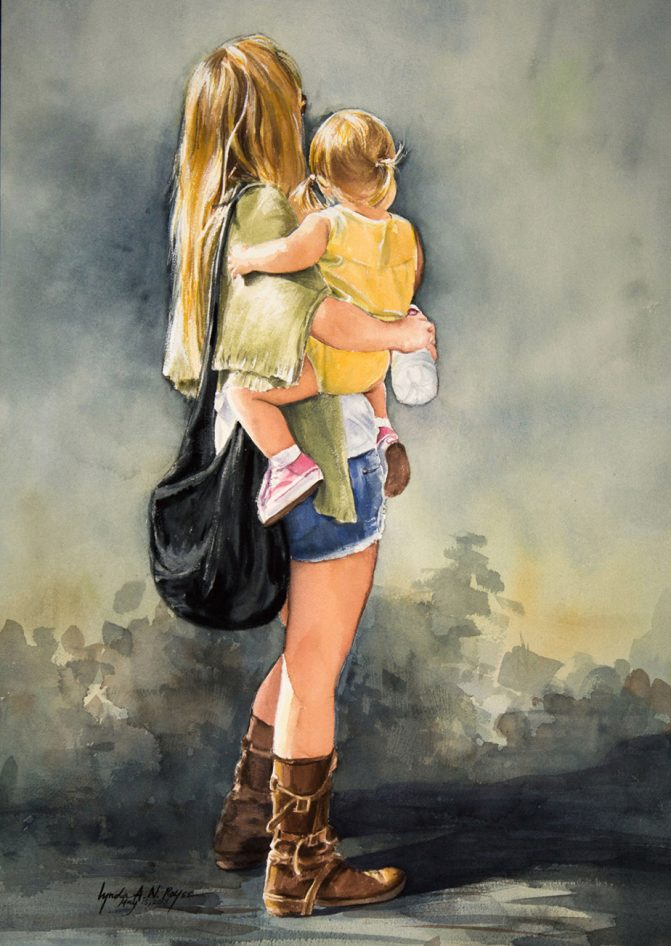 watercolor painting of a woman holding a young girl on her hip