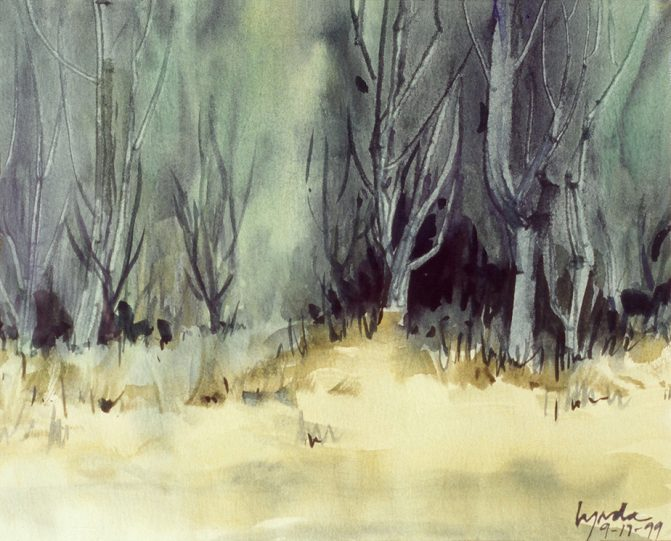 watercolor painting of a forest