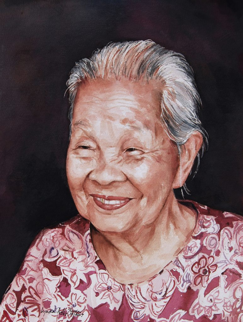 watercolor painting of an asian grandmother