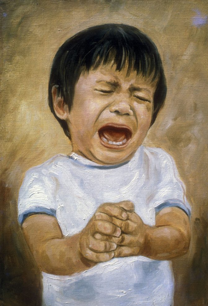 oil painting of young boy bawling