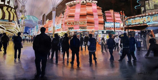 watercolor painting of a las vegas casino with silhouetted people in the foreground