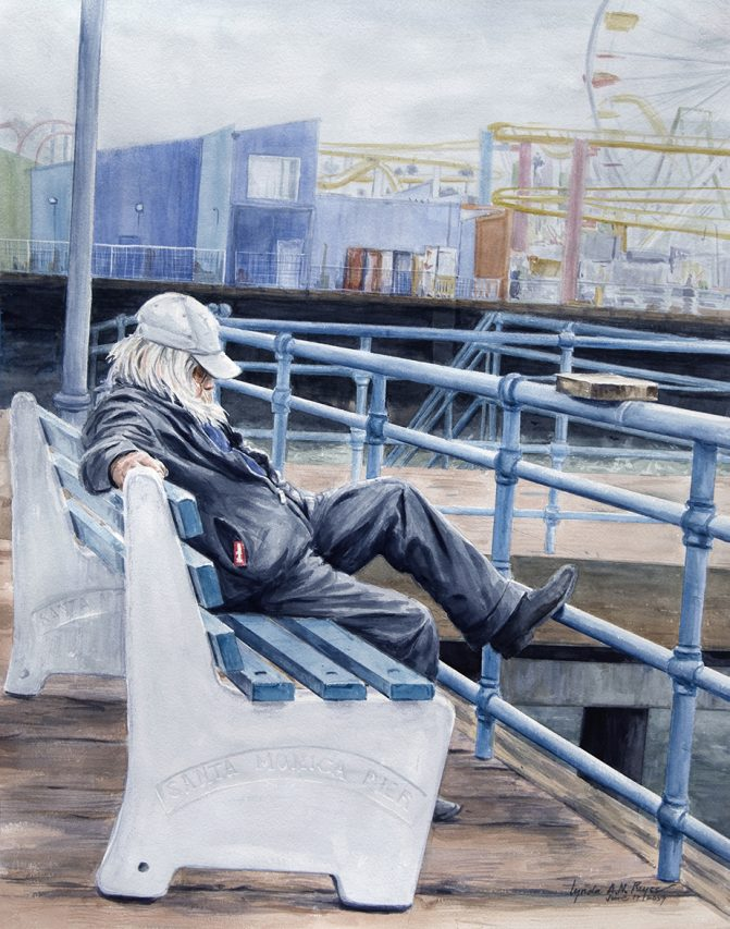 older man seated on a bench at a pier