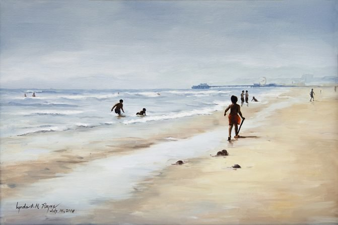 oil painting of a beach scene with some silhouettes of people