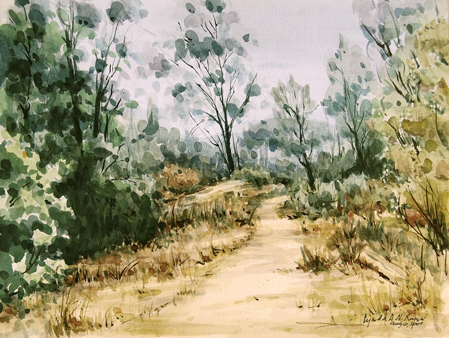 watercolor painting of trees and a path