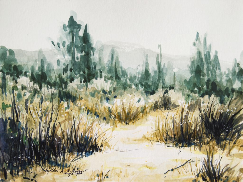 watercolor painting of a dry grass landscape with trees in the background