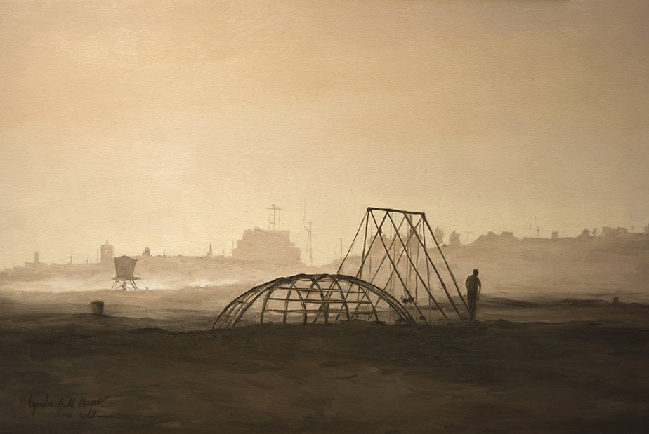 landscape painting of beach silhouettes